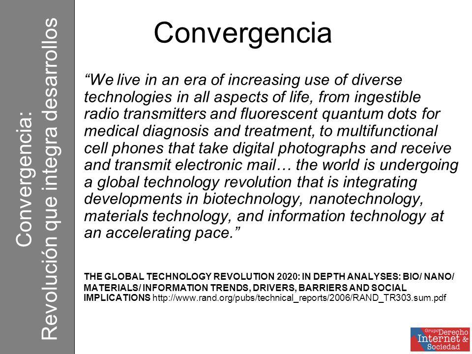 Convergencia La convergencia tecnológica ser refiere a las crecientes capacidades de diferentes plataformas de red de transportar diferentes tipos de servicios esencialmente similares a través de diferentes dTelcoositivos como el teléfono, la TV y la computadora.