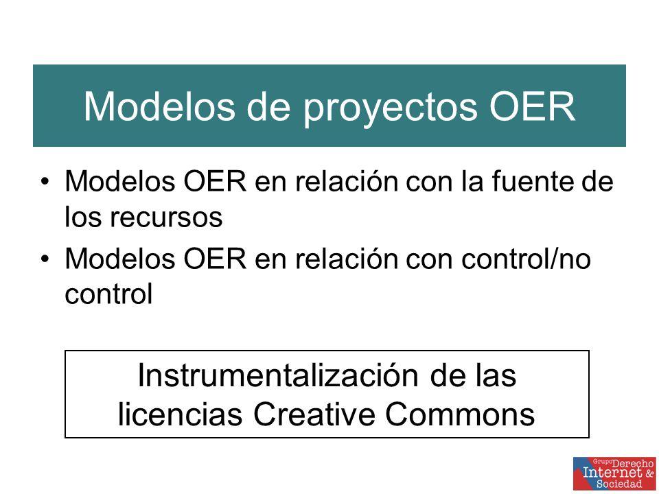 Modelos de proyectos OER Modelos OER en relación con la fuente de los recursos Modelos OER en relación con control/no control Instrumentalización de las licencias Creative Commons