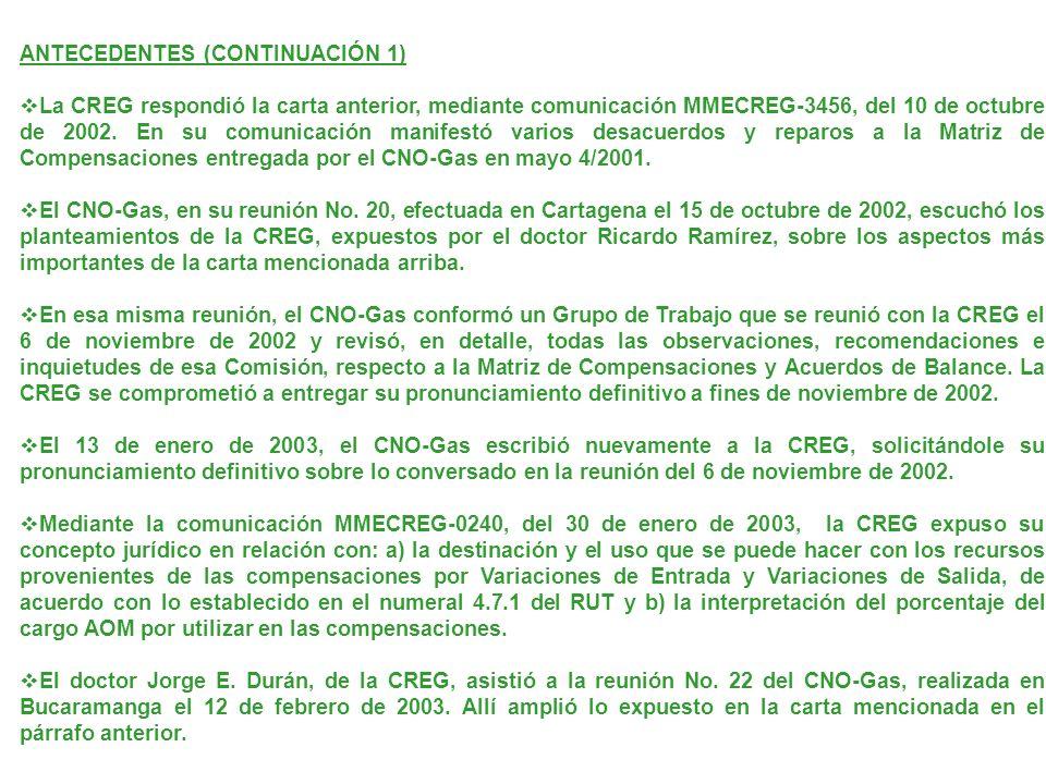 ANTECEDENTES (CONTINUACIÓN 1) La CREG respondió la carta anterior, mediante comunicación MMECREG-3456, del 10 de octubre de 2002. En su comunicación m