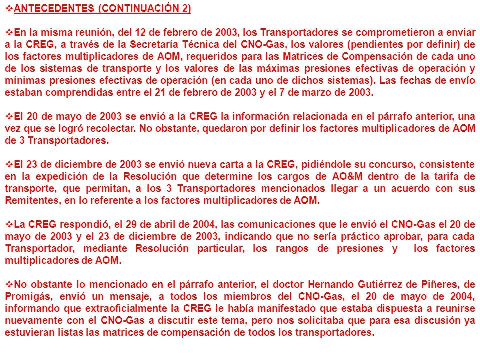 ANTECEDENTES (CONTINUACIÓN 2) En la misma reunión, del 12 de febrero de 2003, los Transportadores se comprometieron a enviar a la CREG, a través de la Secretaría Técnica del CNO-Gas, los valores (pendientes por definir) de los factores multiplicadores de AOM, requeridos para las Matrices de Compensación de cada uno de los sistemas de transporte y los valores de las máximas presiones efectivas de operación y mínimas presiones efectivas de operación (en cada uno de dichos sistemas).