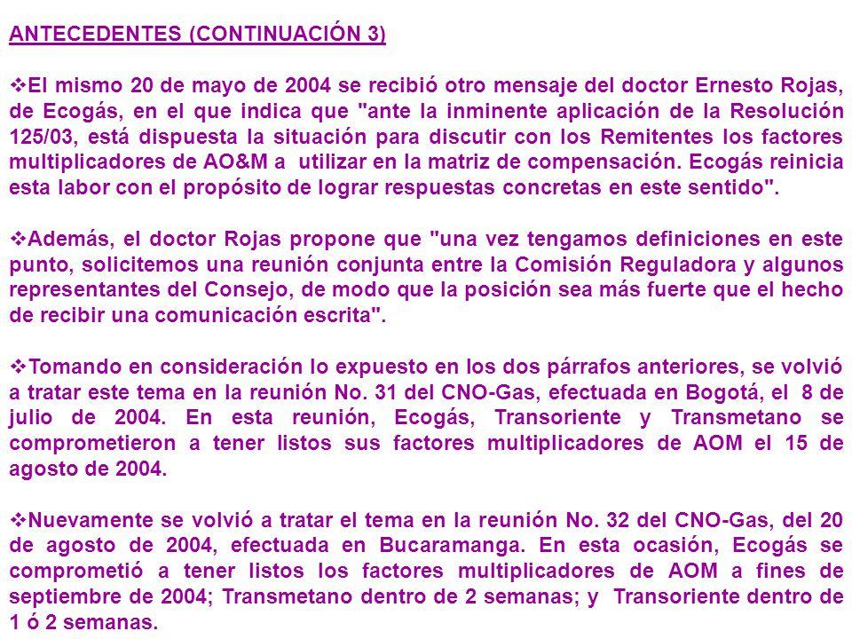 ANTECEDENTES (CONTINUACIÓN 3) El mismo 20 de mayo de 2004 se recibió otro mensaje del doctor Ernesto Rojas, de Ecogás, en el que indica que ante la inminente aplicación de la Resolución 125/03, está dispuesta la situación para discutir con los Remitentes los factores multiplicadores de AO&M a utilizar en la matriz de compensación.