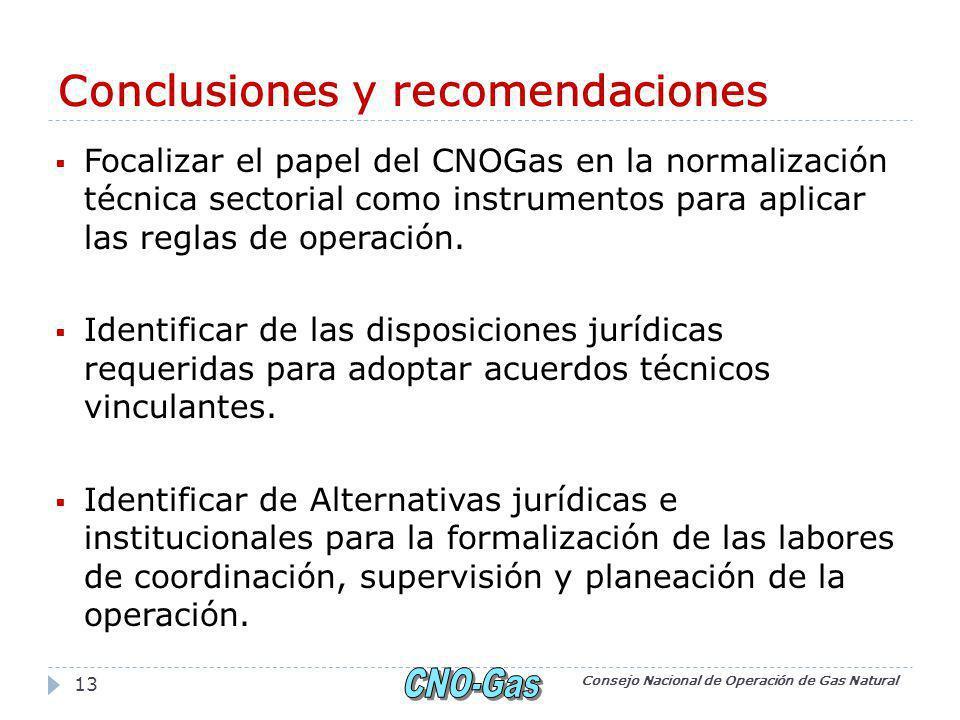 Conclusiones y recomendaciones Focalizar el papel del CNOGas en la normalización técnica sectorial como instrumentos para aplicar las reglas de operación.