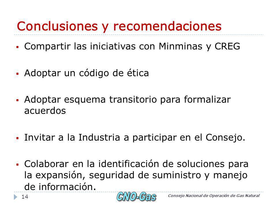 Conclusiones y recomendaciones Compartir las iniciativas con Minminas y CREG Adoptar un código de ética Adoptar esquema transitorio para formalizar acuerdos Invitar a la Industria a participar en el Consejo.