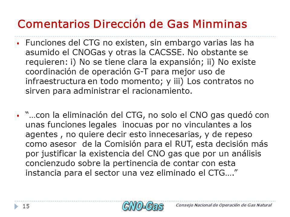 Comentarios Dirección de Gas Minminas Funciones del CTG no existen, sin embargo varias las ha asumido el CNOGas y otras la CACSSE.