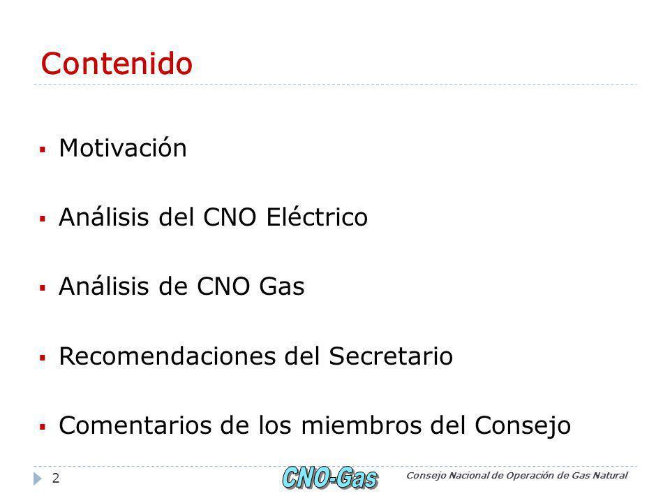 Contenido Motivación Análisis del CNO Eléctrico Análisis de CNO Gas Recomendaciones del Secretario Comentarios de los miembros del Consejo Consejo Nacional de Operación de Gas Natural 2