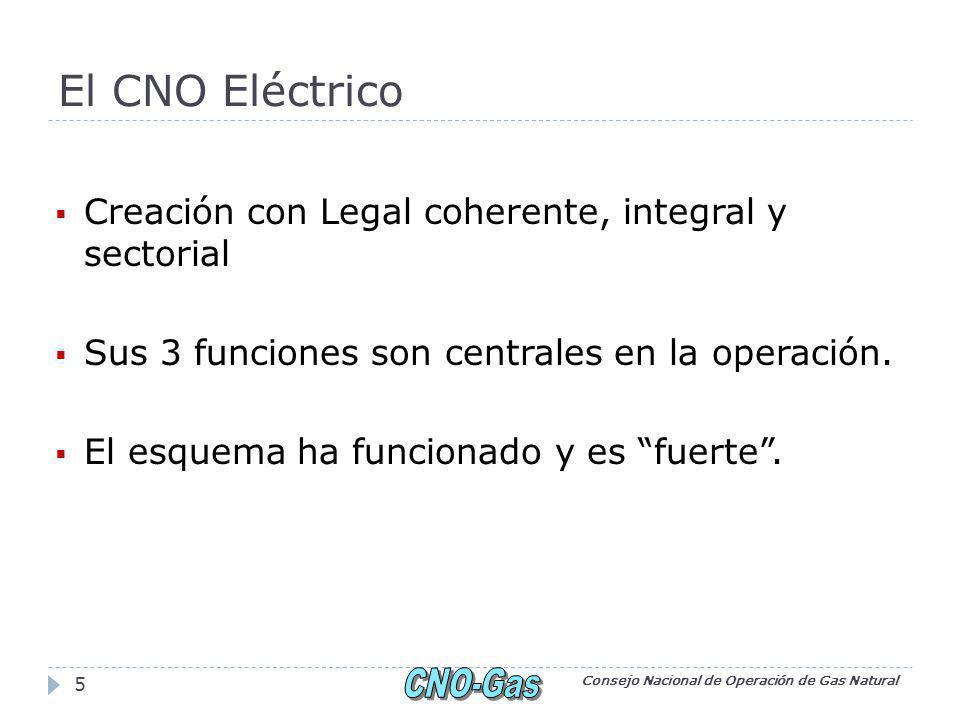 El CNO Eléctrico Creación con Legal coherente, integral y sectorial Sus 3 funciones son centrales en la operación.