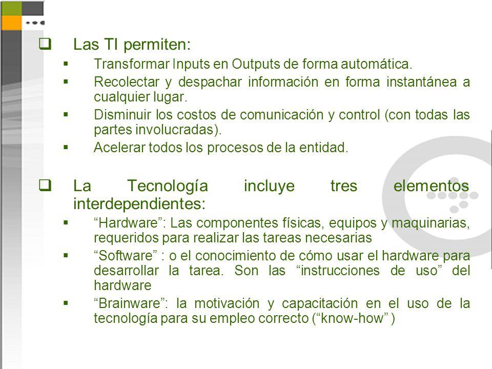 Las TI permiten: Transformar Inputs en Outputs de forma automática. Recolectar y despachar información en forma instantánea a cualquier lugar. Disminu