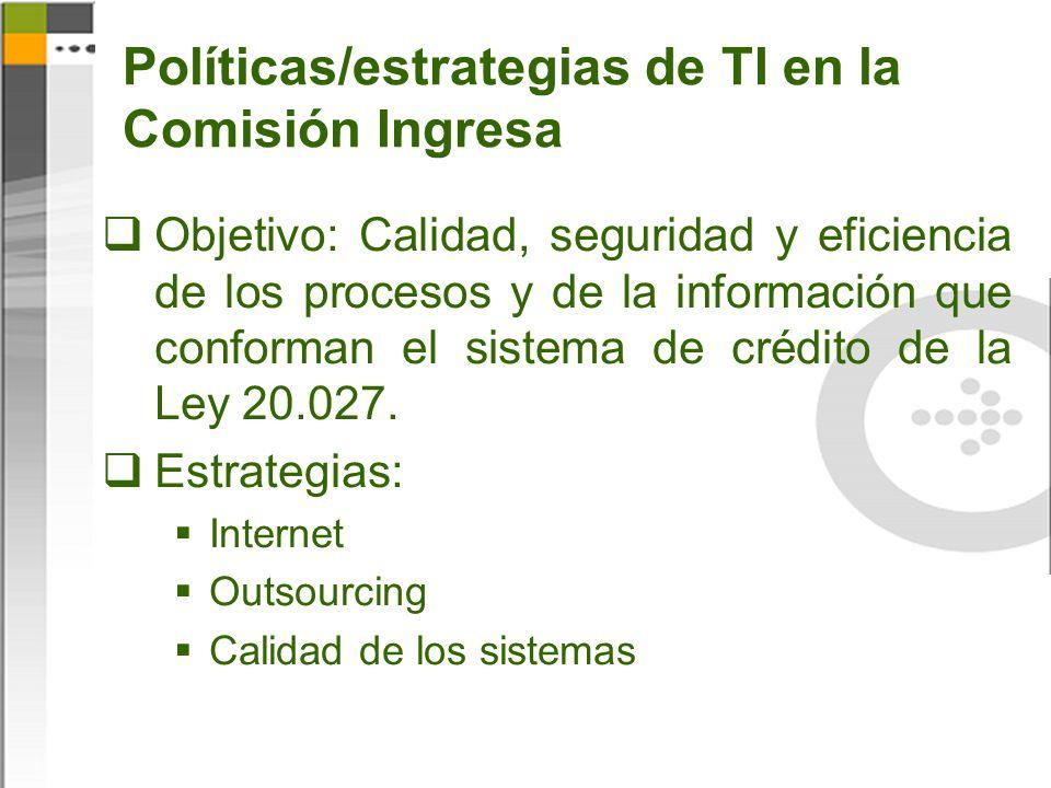 Políticas/estrategias de TI en la Comisión Ingresa Objetivo: Calidad, seguridad y eficiencia de los procesos y de la información que conforman el sist
