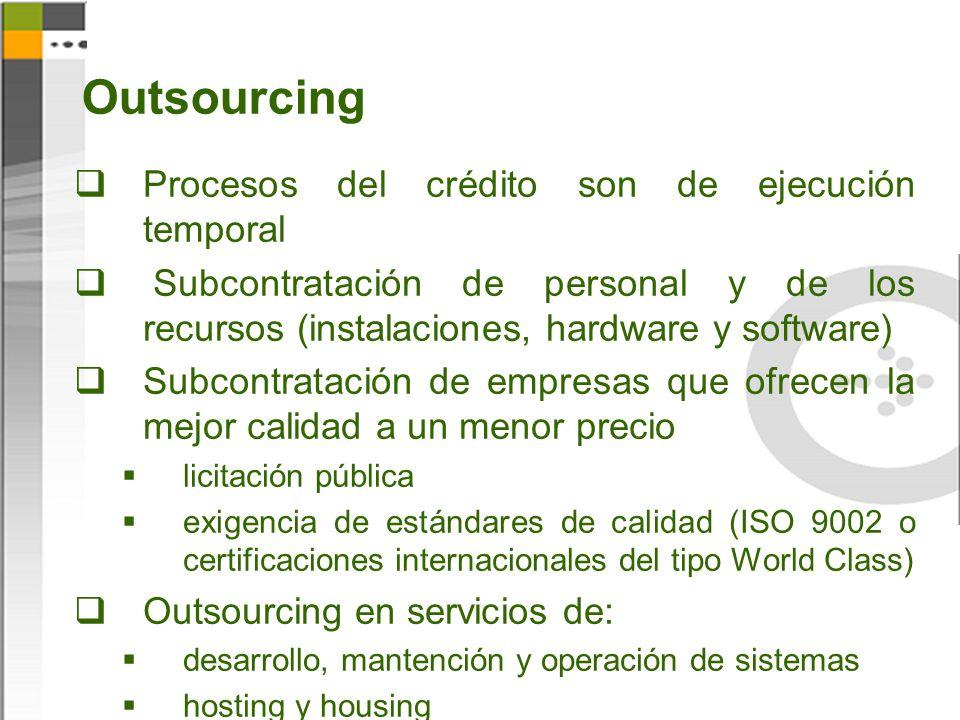 Outsourcing Procesos del crédito son de ejecución temporal Subcontratación de personal y de los recursos (instalaciones, hardware y software) Subcontr