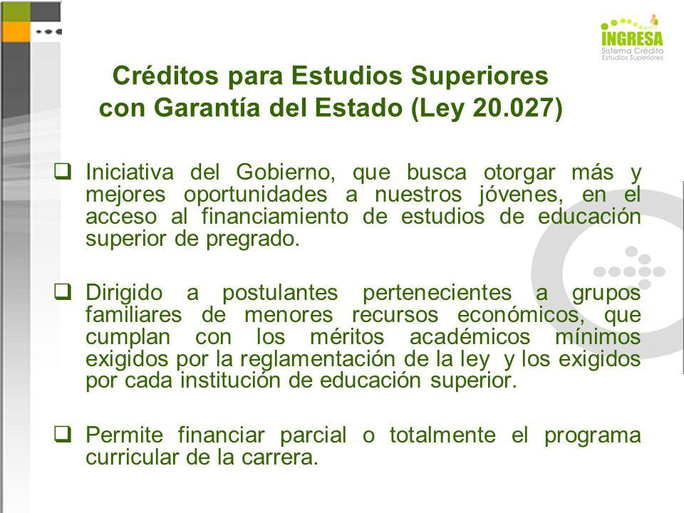 Créditos para Estudios Superiores con Garantía del Estado (Ley 20.027) Iniciativa del Gobierno, que busca otorgar más y mejores oportunidades a nuestr