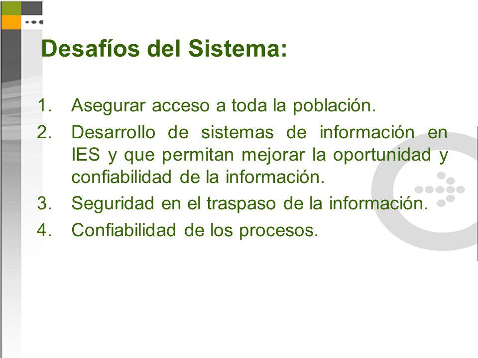 Desafíos del Sistema: 1.Asegurar acceso a toda la población. 2.Desarrollo de sistemas de información en IES y que permitan mejorar la oportunidad y co