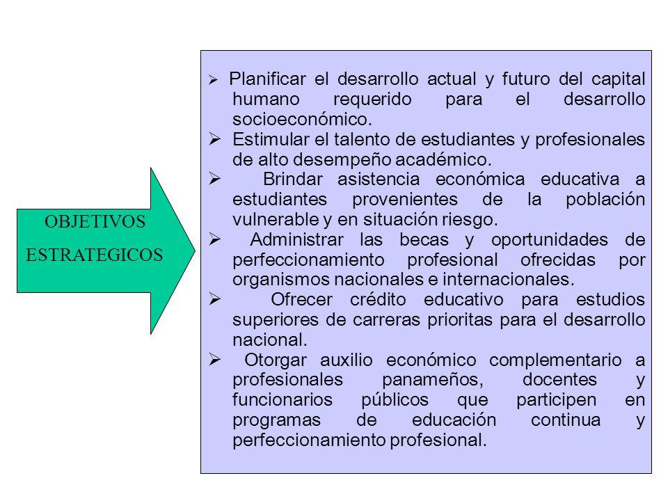 Planificar el desarrollo actual y futuro del capital humano requerido para el desarrollo socioeconómico. Estimular el talento de estudiantes y profesi