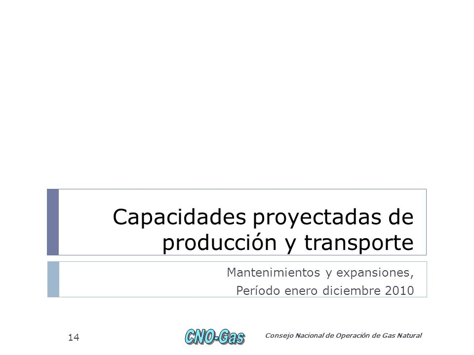 Capacidades proyectadas de producción y transporte Mantenimientos y expansiones, Período enero diciembre 2010 Consejo Nacional de Operación de Gas Natural 14