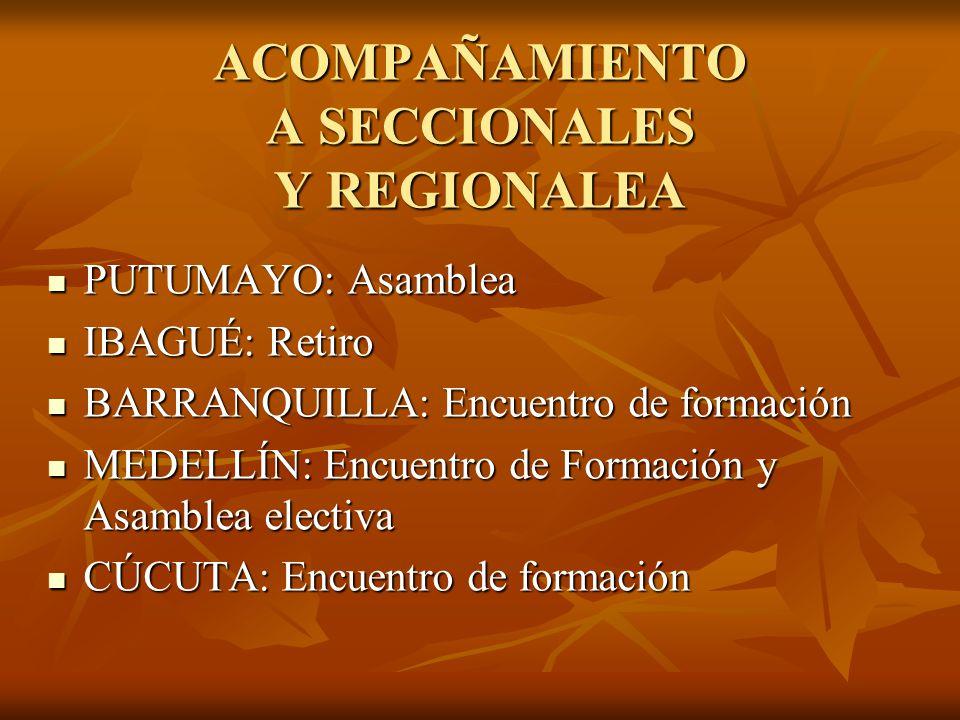 ACOMPAÑAMIENTO A SECCIONALES Y REGIONALEA PUTUMAYO: Asamblea PUTUMAYO: Asamblea IBAGUÉ: Retiro IBAGUÉ: Retiro BARRANQUILLA: Encuentro de formación BARRANQUILLA: Encuentro de formación MEDELLÍN: Encuentro de Formación y Asamblea electiva MEDELLÍN: Encuentro de Formación y Asamblea electiva CÚCUTA: Encuentro de formación CÚCUTA: Encuentro de formación
