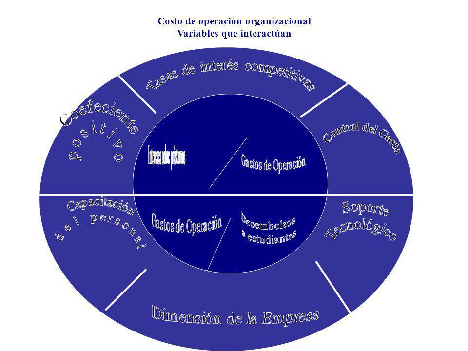 Costo de operación organizacional Variables que interactúan