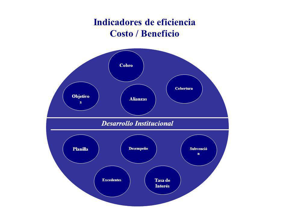 Indicadores de eficiencia Costo / Beneficio Desarrollo Institucional Cobertura Objetivo s Alianzas Planilla Excedentes Desempeño Subvenció n Tasa de Interés Cobro