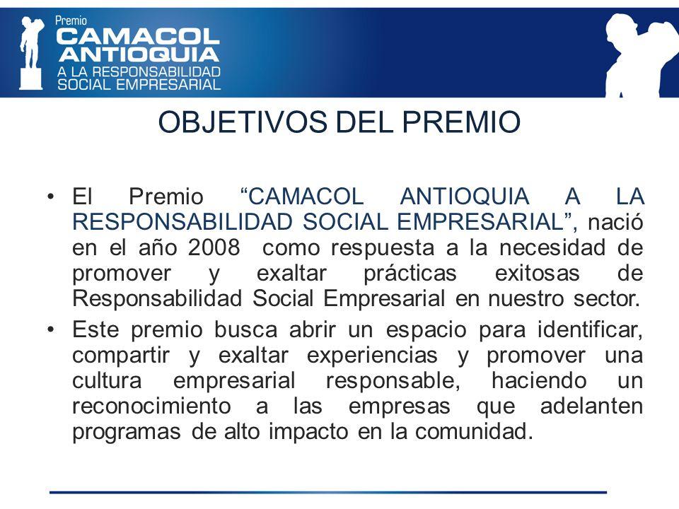 OBJETIVOS DEL PREMIO El Premio CAMACOL ANTIOQUIA A LA RESPONSABILIDAD SOCIAL EMPRESARIAL, nació en el año 2008 como respuesta a la necesidad de promover y exaltar prácticas exitosas de Responsabilidad Social Empresarial en nuestro sector.