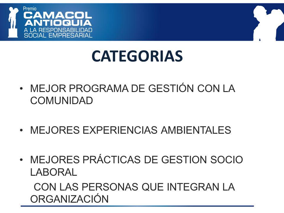 MIEMBROS DEL JURADO Nombre: SANDRA MILENA AVILA MÚNERA Cargo: Coordinadora Empresa: Cámara de Comercio de Medellín- Programa ComprometeRSE Nombre: CLAUDIA RESTREPO MONTOYA Cargo: Directora General Empresa: ISVIMED Nombre: MARGARITA INÉS RESTREPO CÁRDENAS Cargo: Directora Ejecutiva Empresa: Corporación Antioquia Presente Nombre: MABEL SANCHEZ HENAO Cargo: Coordinadora de Responsabilidad Social Empresa: Grupo Familia Nombre: ALEJANDRO GONZALEZ VALENCIA Cargo: Subdirector Ambiental Empresa : Área Metropolitana