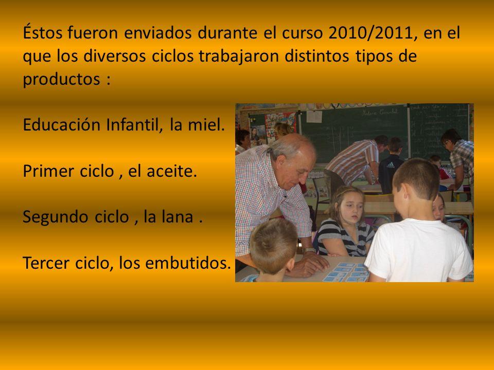 Éstos fueron enviados durante el curso 2010/2011, en el que los diversos ciclos trabajaron distintos tipos de productos : Educación Infantil, la miel.