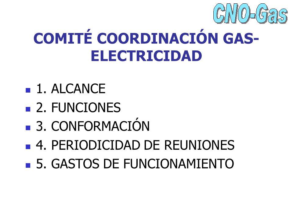 COMITÉ COORDINACIÓN GAS- ELECTRICIDAD 1. ALCANCE 2. FUNCIONES 3. CONFORMACIÓN 4. PERIODICIDAD DE REUNIONES 5. GASTOS DE FUNCIONAMIENTO