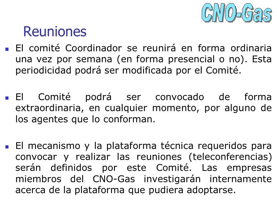 Reuniones El comité Coordinador se reunirá en forma ordinaria una vez por semana (en forma presencial o no). Esta periodicidad podrá ser modificada po