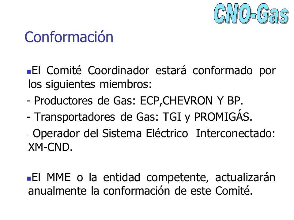 Conformación El Comité Coordinador estará conformado por los siguientes miembros: - Productores de Gas: ECP,CHEVRON Y BP. - Transportadores de Gas: TG