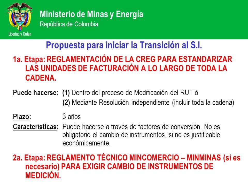 Ministerio de Minas y Energía República de Colombia Propuesta para iniciar la Transición al S.I. 1a. Etapa: REGLAMENTACIÓN DE LA CREG PARA ESTANDARIZA
