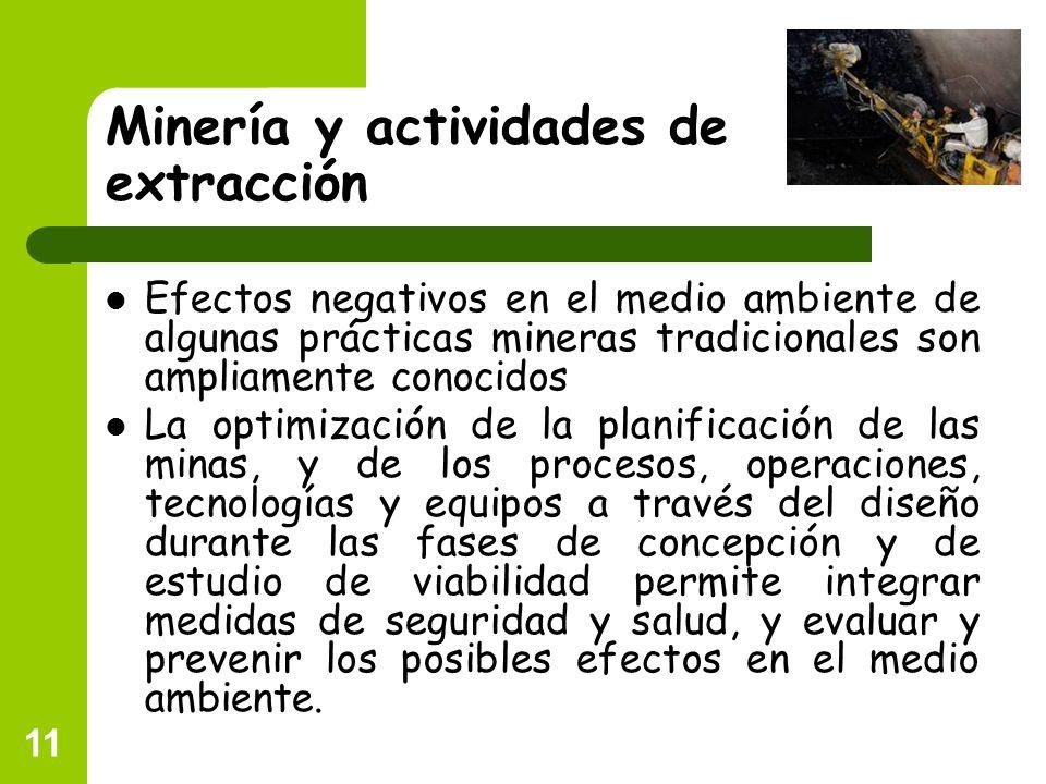 11 Minería y actividades de extracción Efectos negativos en el medio ambiente de algunas prácticas mineras tradicionales son ampliamente conocidos La