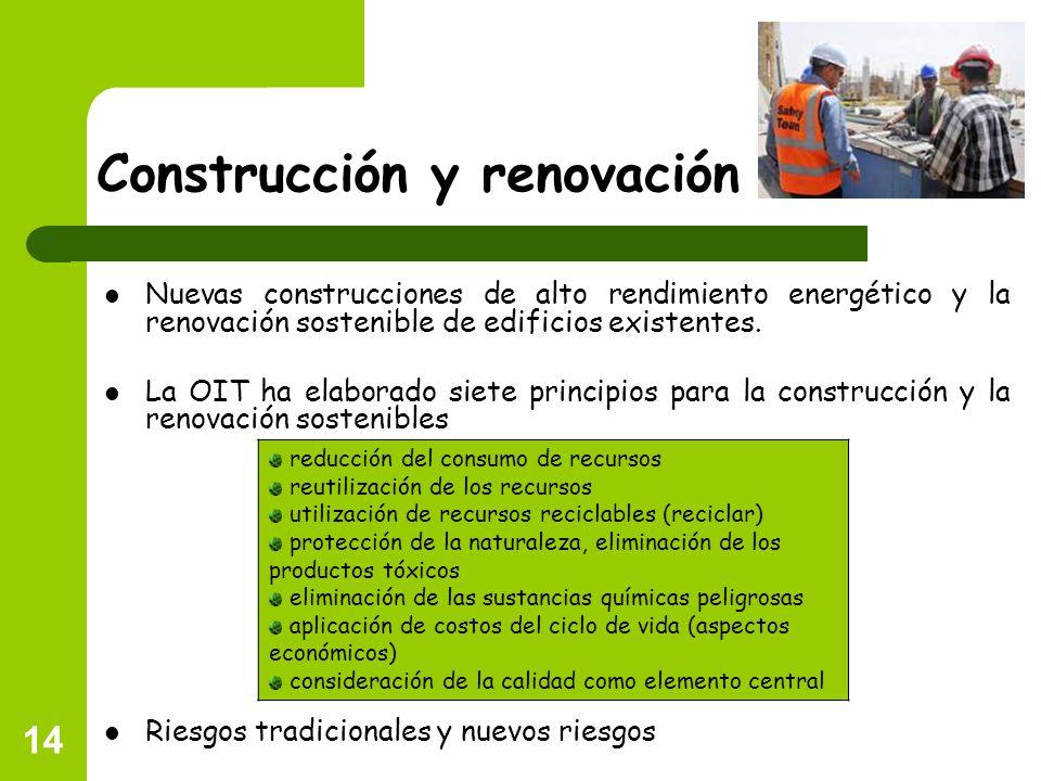 14 Construcción y renovación Nuevas construcciones de alto rendimiento energético y la renovación sostenible de edificios existentes. La OIT ha elabor