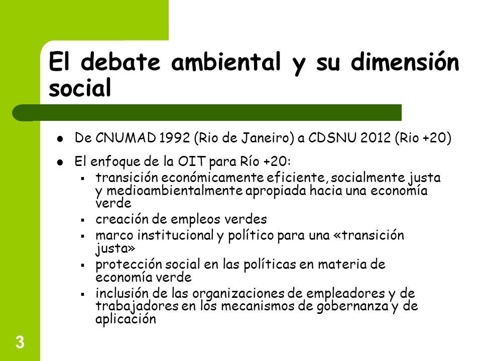 3 El debate ambiental y su dimensión social El enfoque de la OIT para Río +20: transición económicamente eficiente, socialmente justa y medioambiental