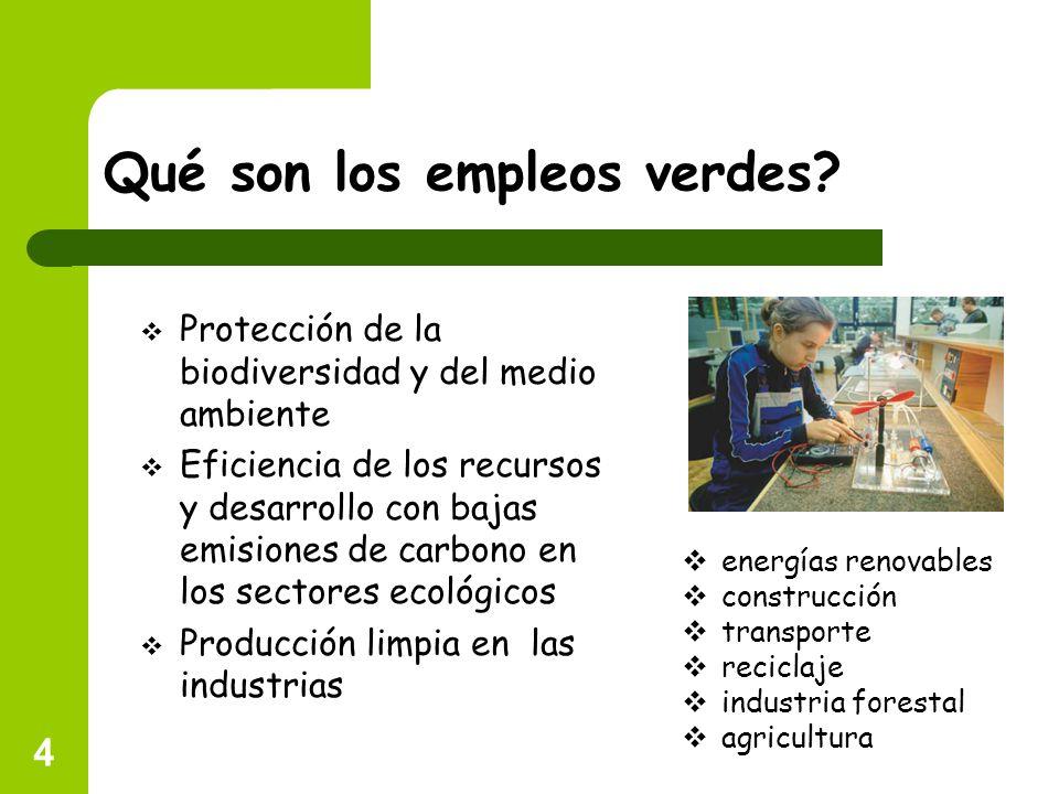 4 Qué son los empleos verdes? Protección de la biodiversidad y del medio ambiente Eficiencia de los recursos y desarrollo con bajas emisiones de carbo