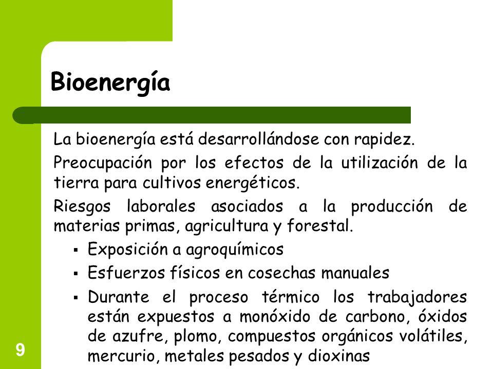 9 Bioenergía La bioenergía está desarrollándose con rapidez. Preocupación por los efectos de la utilización de la tierra para cultivos energéticos. Ri