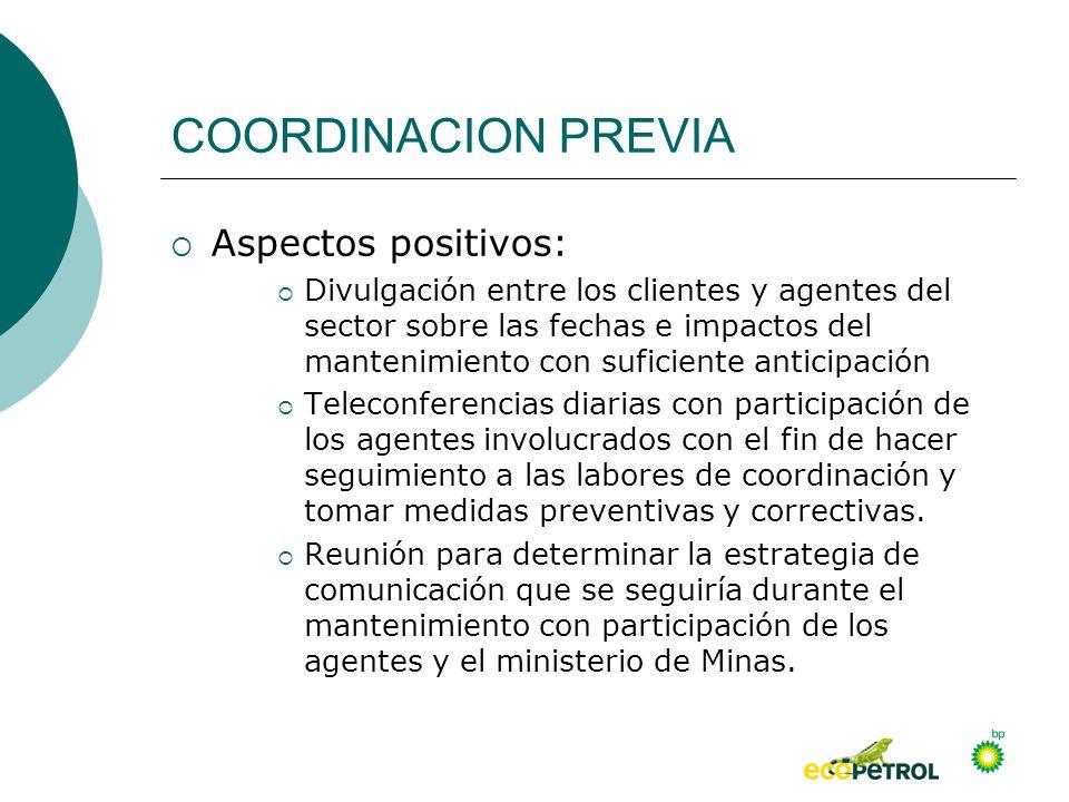 COORDINACION PREVIA Aspectos positivos: Divulgación entre los clientes y agentes del sector sobre las fechas e impactos del mantenimiento con suficien