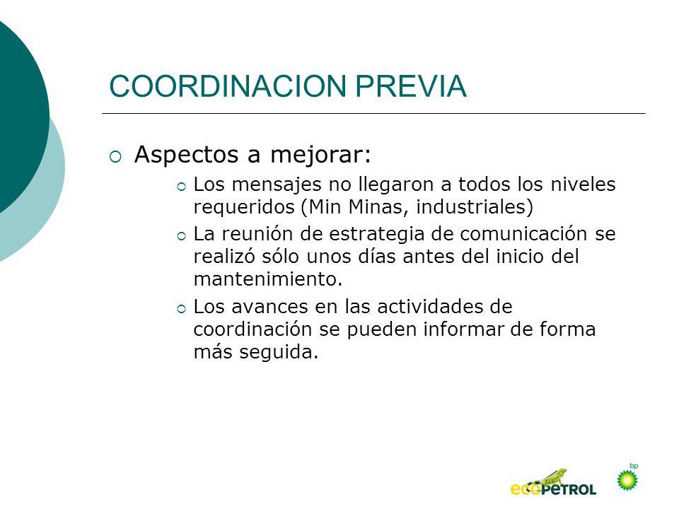 COORDINACION PREVIA Aspectos a mejorar: Los mensajes no llegaron a todos los niveles requeridos (Min Minas, industriales) La reunión de estrategia de