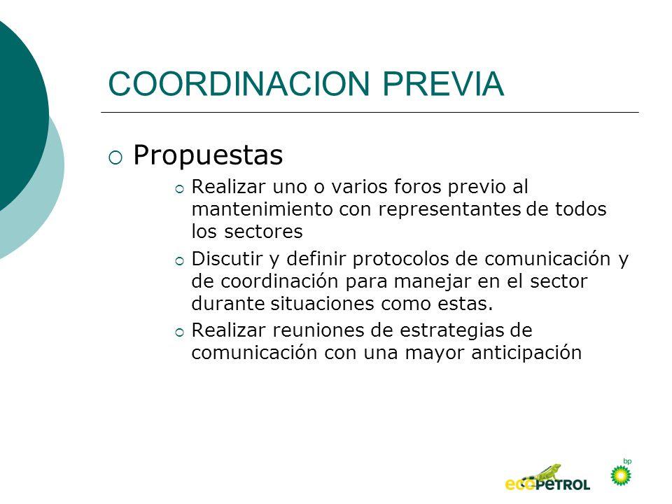 COORDINACION PREVIA Propuestas Realizar uno o varios foros previo al mantenimiento con representantes de todos los sectores Discutir y definir protoco