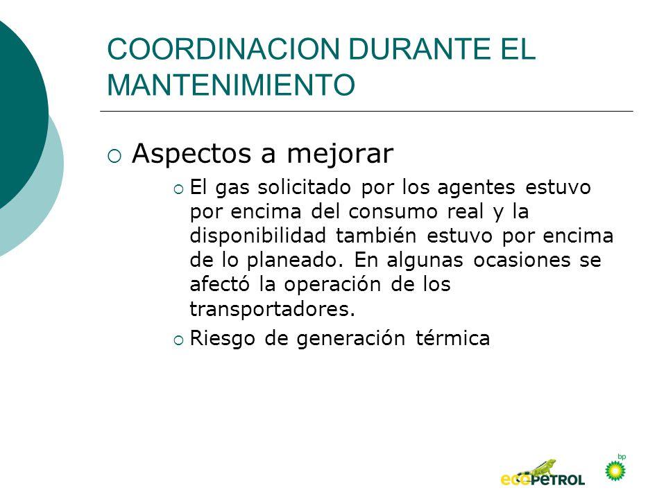 COORDINACION DURANTE EL MANTENIMIENTO Aspectos a mejorar El gas solicitado por los agentes estuvo por encima del consumo real y la disponibilidad tamb