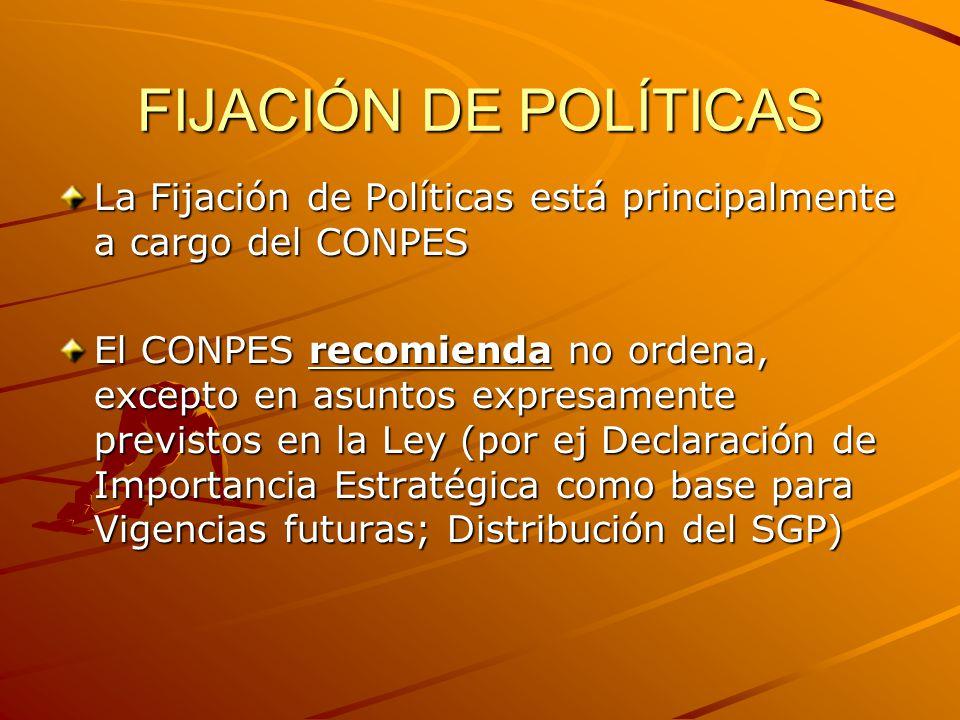 FIJACIÓN DE POLÍTICAS La Fijación de Políticas está principalmente a cargo del CONPES El CONPES recomienda no ordena, excepto en asuntos expresamente previstos en la Ley (por ej Declaración de Importancia Estratégica como base para Vigencias futuras; Distribución del SGP)