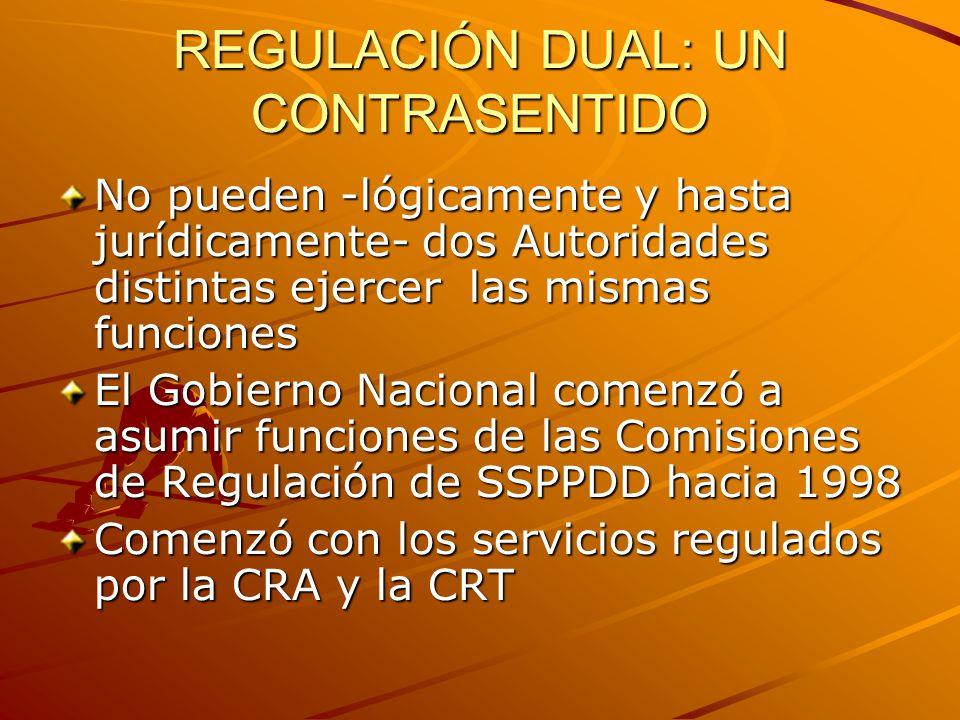 REGULACIÓN DUAL: UN CONTRASENTIDO Desde 2000, la CRT equiparó sus funciones regulatorios según la Ley 142/94 a las que asumió para los demás servicios de Telecomunicaciones En 2009 afortunadamente se unificaron las reglas que reconocen la convergencia y la CRC regula todos esos servicios (excepto TV y Radio) con las mismas reglas legales (Ley 1341)