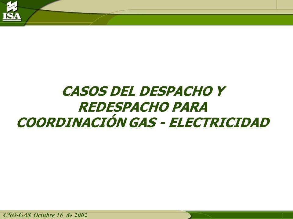 CNO-GAS Octubre 16 de 2002 COORDINACIÓN GAS - ELECTRICIDAD Caso 4: Inicialmente Caribe aislada y entrada de un circuito San Carlos- Cerro a partir del período 09 Caso original Enero 17 de 2002 Conexión de un circuito intecosta en el periodo 9 El redespacho se realiza para aplicar a partir del período 15.