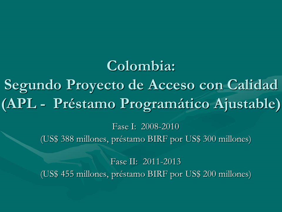 Colombia: Segundo Proyecto de Acceso con Calidad (APL - Préstamo Programático Ajustable) Fase I: 2008-2010 (US$ 388 millones, préstamo BIRF por US$ 30