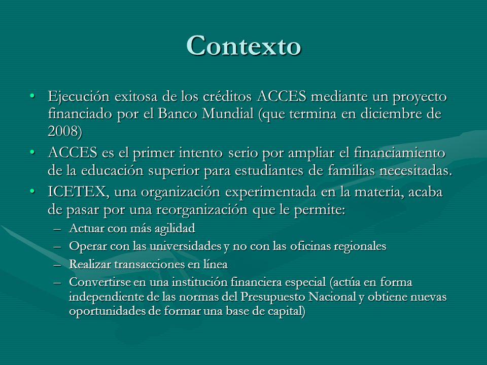 Contexto Ejecución exitosa de los créditos ACCES mediante un proyecto financiado por el Banco Mundial (que termina en diciembre de 2008)Ejecución exit