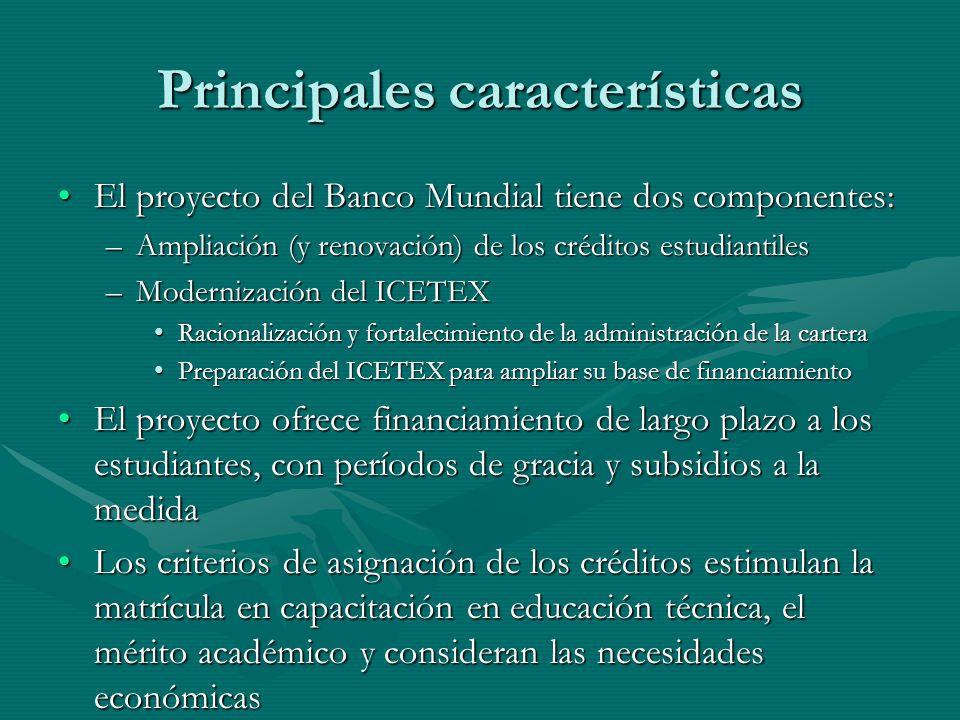 Principales características El proyecto del Banco Mundial tiene dos componentes:El proyecto del Banco Mundial tiene dos componentes: –Ampliación (y re