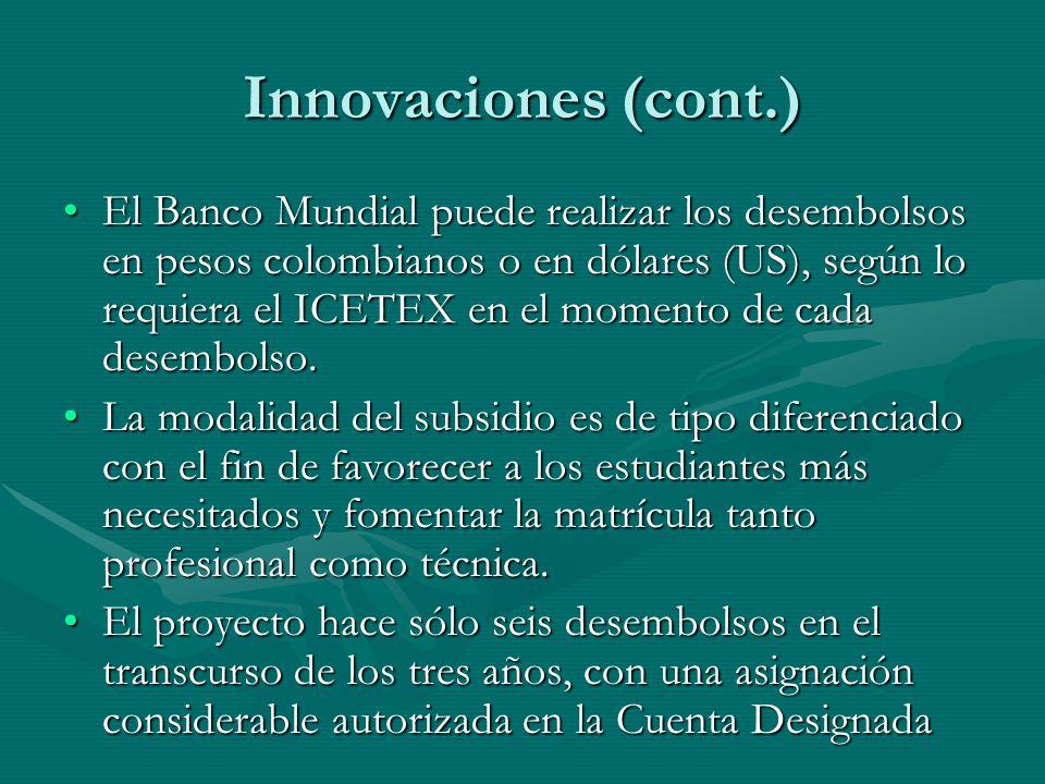 Innovaciones (cont.) El Banco Mundial puede realizar los desembolsos en pesos colombianos o en dólares (US), según lo requiera el ICETEX en el momento