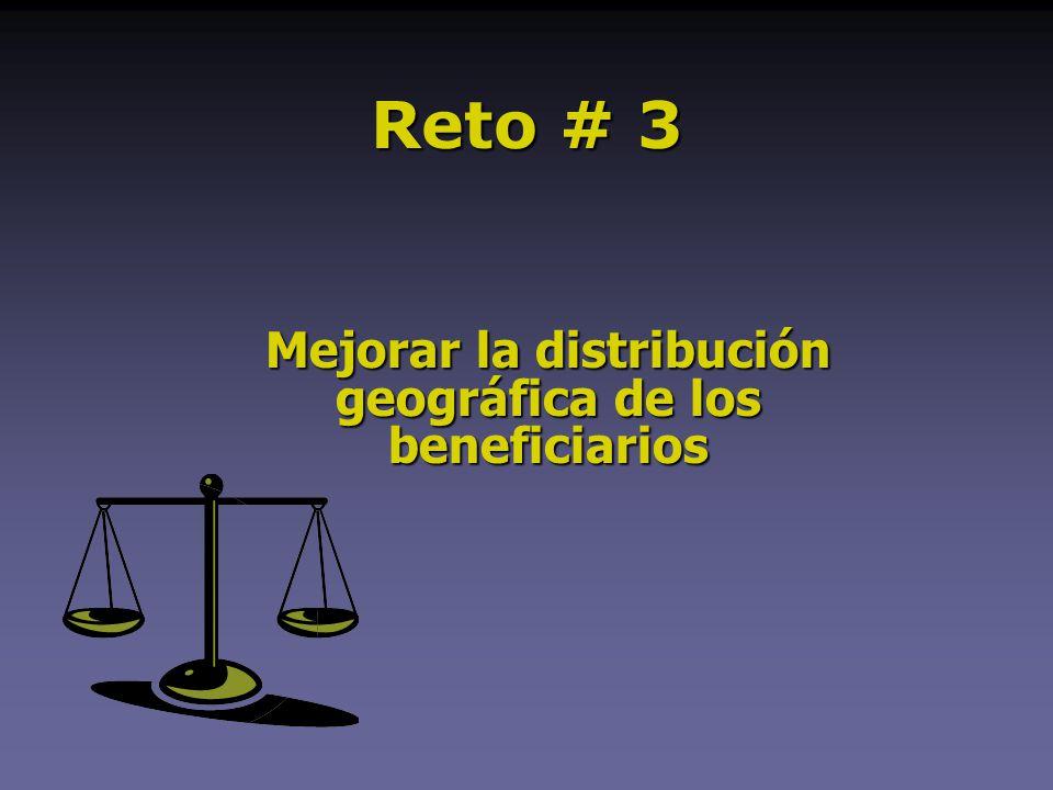 Mejorar la distribución geográfica de los beneficiarios Reto # 3