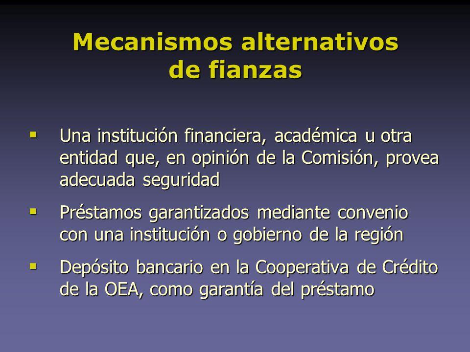 Mecanismos alternativos de fianzas Una institución financiera, académica u otra entidad que, en opinión de la Comisión, provea adecuada seguridad Una institución financiera, académica u otra entidad que, en opinión de la Comisión, provea adecuada seguridad Préstamos garantizados mediante convenio con una institución o gobierno de la región Préstamos garantizados mediante convenio con una institución o gobierno de la región Depósito bancario en la Cooperativa de Crédito de la OEA, como garantía del préstamo Depósito bancario en la Cooperativa de Crédito de la OEA, como garantía del préstamo