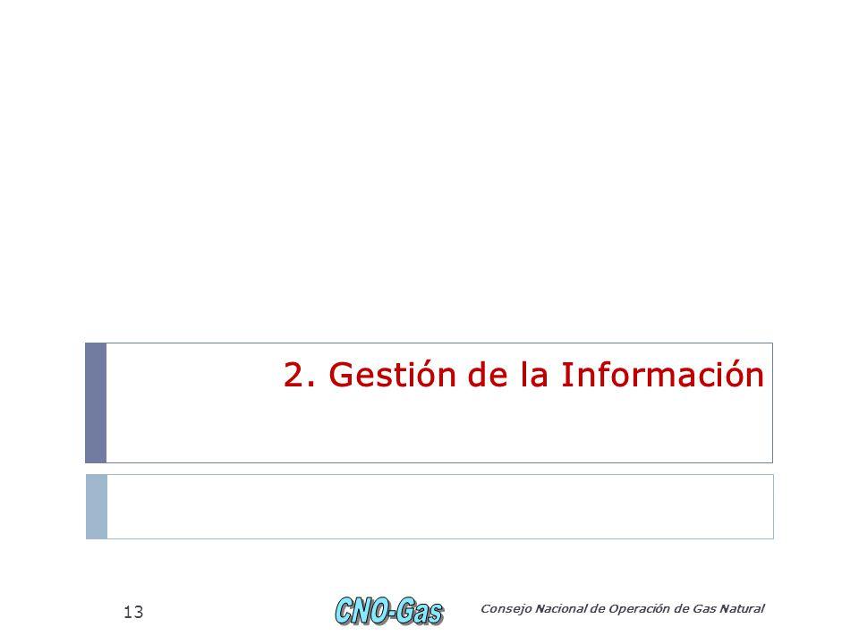 2. Gestión de la Información Consejo Nacional de Operación de Gas Natural 13