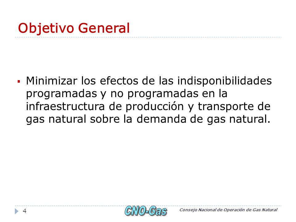 Objetivo General Minimizar los efectos de las indisponibilidades programadas y no programadas en la infraestructura de producción y transporte de gas natural sobre la demanda de gas natural.