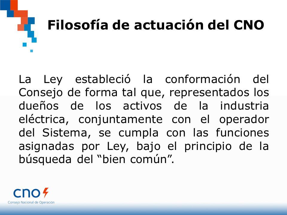 Filosofía de actuación del CNO La Ley estableció la conformación del Consejo de forma tal que, representados los dueños de los activos de la industria