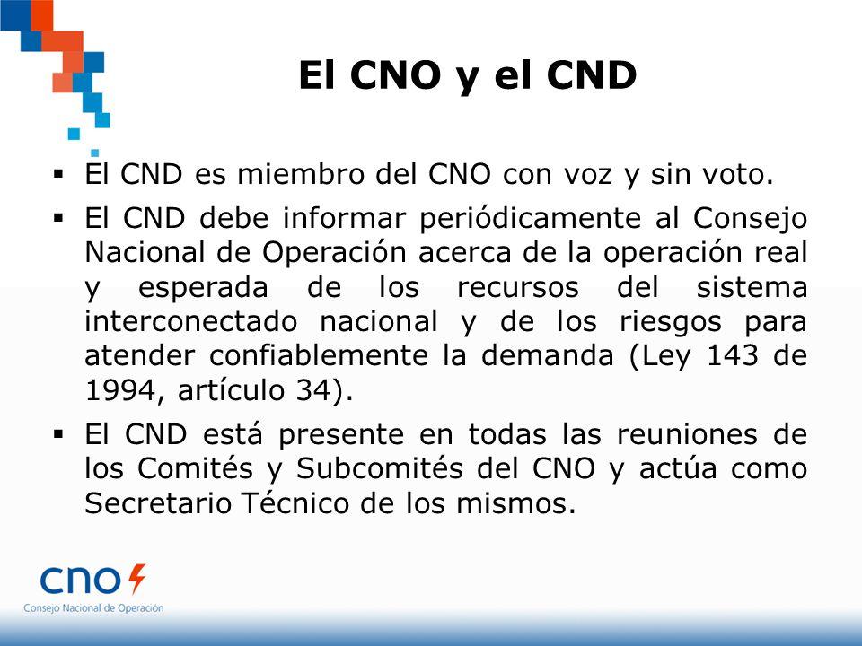 El CNO y el CND El CND es miembro del CNO con voz y sin voto. El CND debe informar periódicamente al Consejo Nacional de Operación acerca de la operac