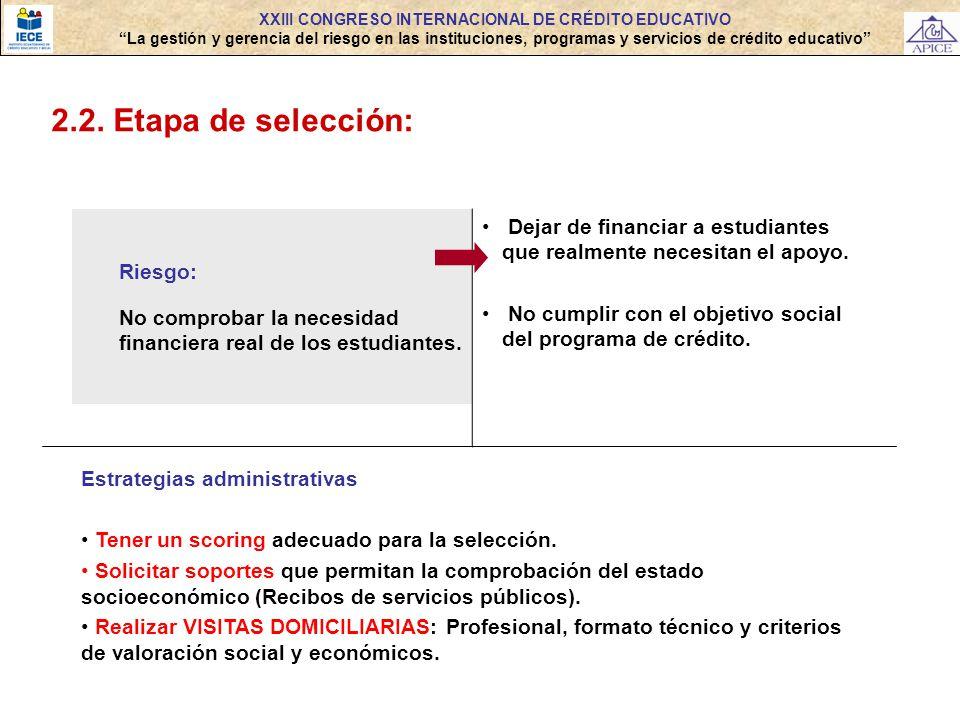 2.2. Etapa de selección: Riesgo: No comprobar la necesidad financiera real de los estudiantes. Dejar de financiar a estudiantes que realmente necesita